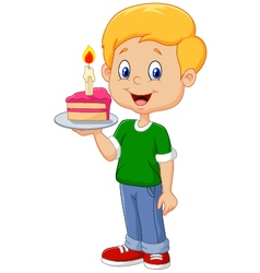 Little boy holding birthday cake isolated vector