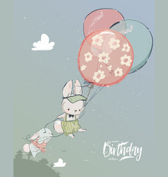 Little hares fly with balloon vector