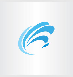 logo blue water wave tourism symbol element vector image