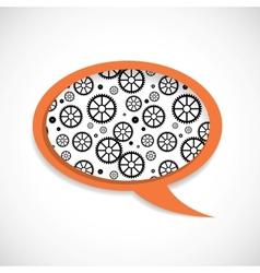 Mechanical Wheels Speech Bubble vector image