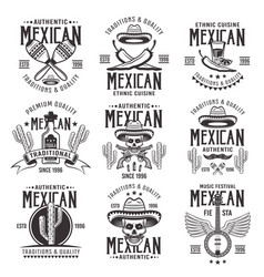 Mexican national attributes black emblems vector