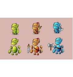 Mini character warrior stone monster kit vector