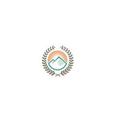 mountain education logo emblem icon vector image