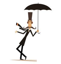 Mustache man in the top hat with umbrella vector