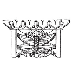 Mutule front view vintage engraving vector