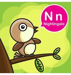 N nightingale color cartoon and alphabet vector