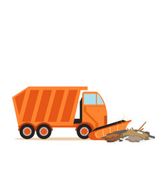 Orange truck plowing garbage waste recycling and vector