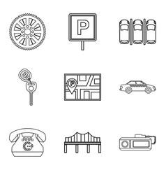 orientation icons set outline style vector image