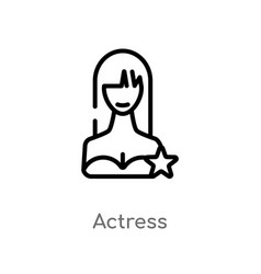 Outline actress icon isolated black simple line vector
