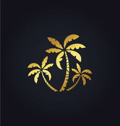 palm tree nature gold logo vector image