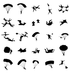 Parachutist silhouette set simple style vector