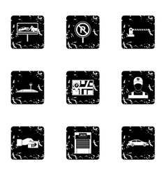 Parking transport icons set grunge style vector