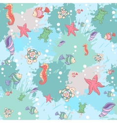 Pattern sea life on the blue background vector image