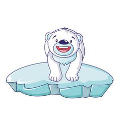 polar bear on iceberg icon cartoon style vector image