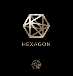 Polygonal crystal icon hexagon logo vector