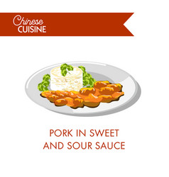 Pork in sweet and sour sauce on plate isolated vector