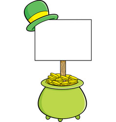 Pot of gold with a sign that has a derby on top vector