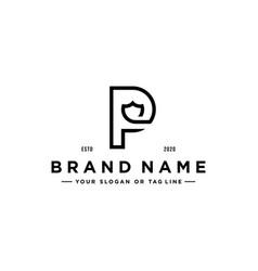 Printletter p shield logo design vector