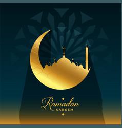 ramadan kareem golden moon and mosque card design vector image