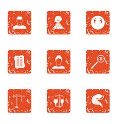 Rebuild icons set grunge style vector