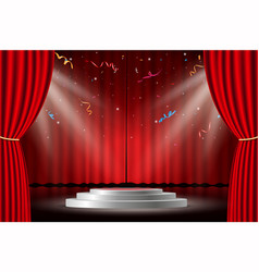 red curtain with white stage and confetti vector image