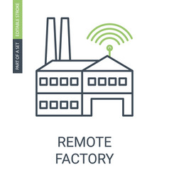 Remote factory icon with editable stroke and vector