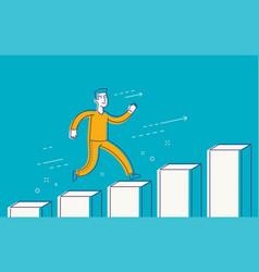 running businessman on successful diagram vector image
