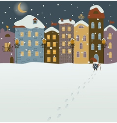 Santa coming to christmas town vector