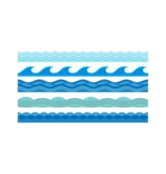 Sea waves pattern set horizontally ocean abstract vector