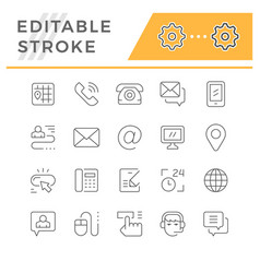 set editable stroke line icons contact us vector image