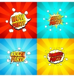 Set of disco party symbols in pop art style vector image
