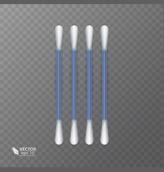 Set of realistic cotton buds cotton swabs for vector