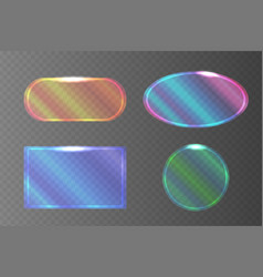 Set of transparent pearlescent banners of vector