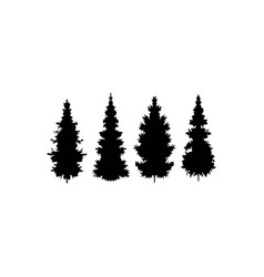 set silhouette pine tree vector image