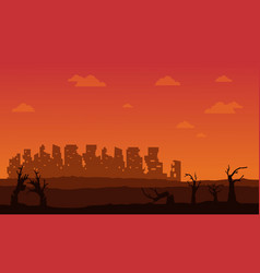 silhouette of broken forest and city vector image