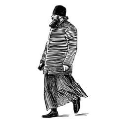 Sketch orthodox priest walking on city street vector