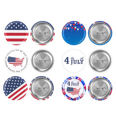 steel round brooch 4th july and america flag vector image