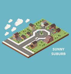 sunny suburb isometric background vector image
