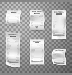 till receipts different length realistic set vector image
