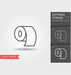 toilet paper line icon with editable stroke with vector image