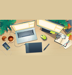 top view designer workspace with graphic tablet vector image