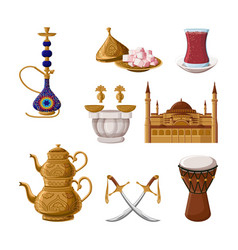 Turkish traditional heritage hookah brass teapot vector