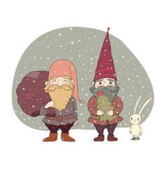two old christmas gnomes and a hare new year card vector image