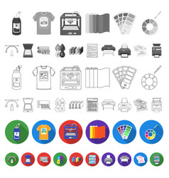 Typographical products flat icons in set vector