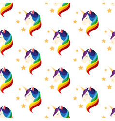 Unicorn with closed eyes rainbow mane seamless vector