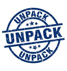 Unpack blue round grunge stamp vector