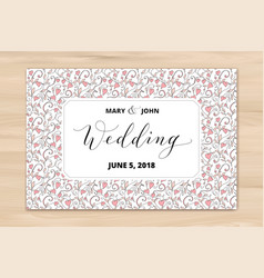 wedding card with hearts pattern background vector image