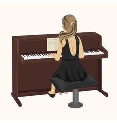 woman playing brown upright piano vector image