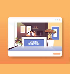 woman receptionist at online reception desk vector image