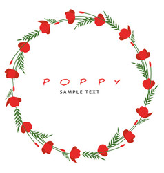 wreath stems leaves and flowers poppy vector image